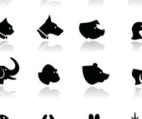 Animal Silhouettes set 4 vectors