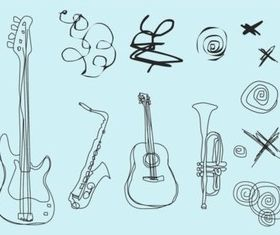 Musical Doodles creative vector