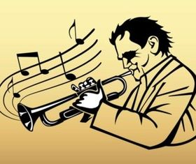 Trumpet Player Vector set