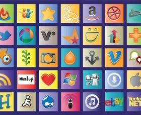 Social Web Logos vectors material