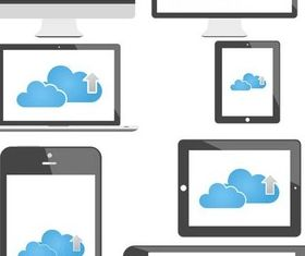 Computing Cloud Icons art design vectors