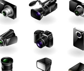 Cameras Icons free vector graphics