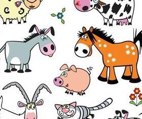Drawn Cute Animals art vector graphics