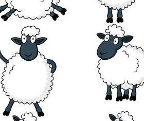 Cute sheeps shiny vector