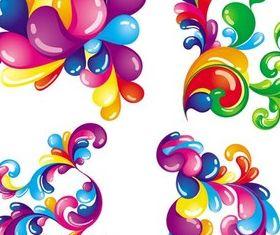 Shiny Floral Elements vector set