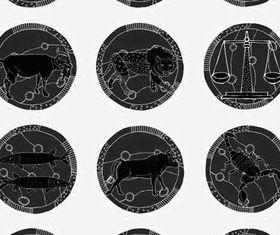 Dark Zodiac Symbols vector