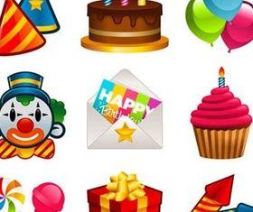 Shiny Birthday Icons art set vector