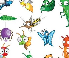 Dinosaurs and insects art shiny vector