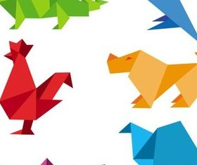 Shiny Origami Animals creative vector