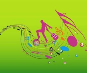 Colorful Music Design set vector