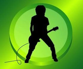 Guitar Player Silhouette shiny vector