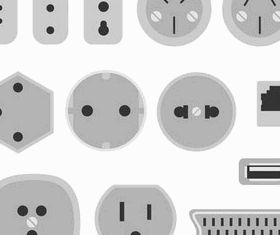 Different Sockets Symbols art vector set