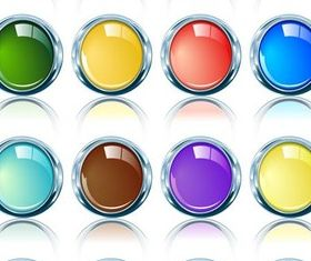 Shiny Glass Round Icons art vector