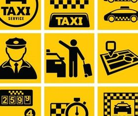 Taxi Elements graphic set vector