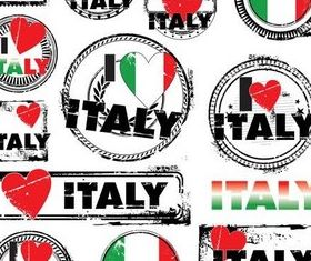Italy Grunge Labels vector