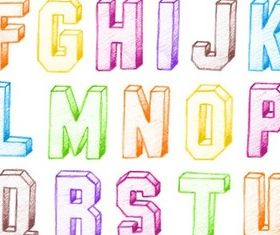 Colorful Alphabet free set vector