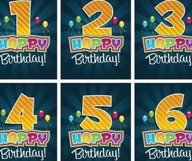 Birthday Cards vector graphics
