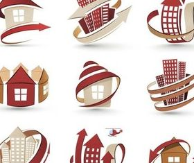 Maroon Houses Logo vector set