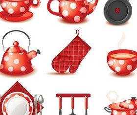 Red Stylish Cookware free vectors graphics