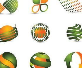 Green-Orange Logotypes vectors graphics