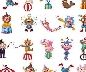 Circus Artists cartoon vector material