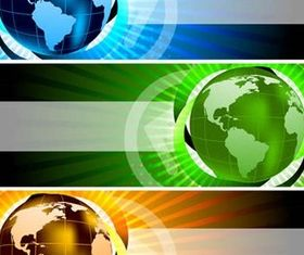 Globes Banners vector graphics