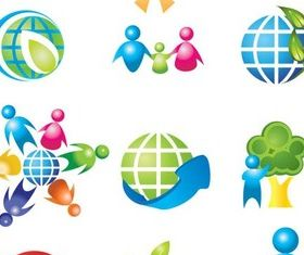 3D Colorful People Icons art vector