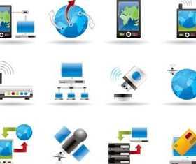 Network Color Icons free vector