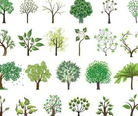 Different Colorful Trees Illustration vector