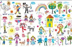 Childrens drawings free vector