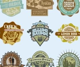 Vintage T-Shirt Labels design vectors