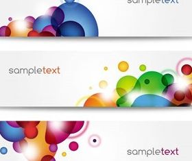 Banners with colored spots vectors