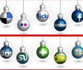 Social Medi Christmas Balls vector set