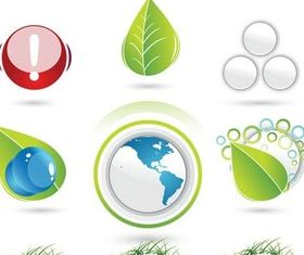 Green Round Nature Icons art vector