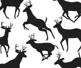 Silhouettes deer design vectors