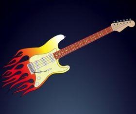 Flames Guitar vector graphics