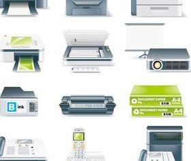 Printer fax telephone design vector