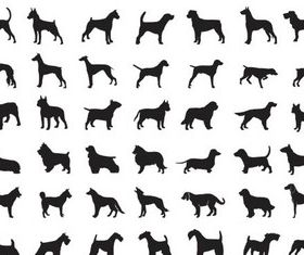 Different silhouettes dogs art creative vector