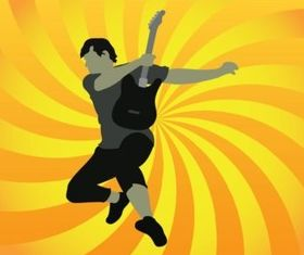 Jumping Guitar Player vector