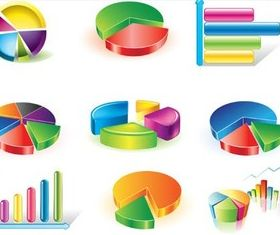 Color 3D Statistics Icons Vector creative