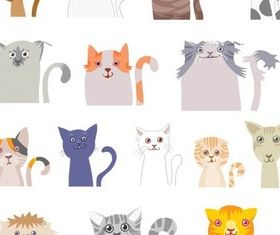 Different Funny Cats Vector