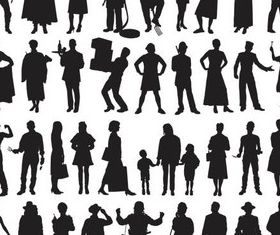 Silhouettes people vector material