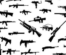 Guns and tanks silhouette vector