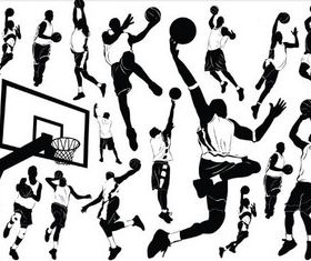 Basketball players free vector material