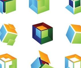 Coloful Cube Logotypes Vector Illustration