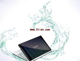 Notebook computer and dynamic water vectors graphics