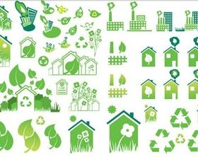 Ecological Green Icons vectors graphic