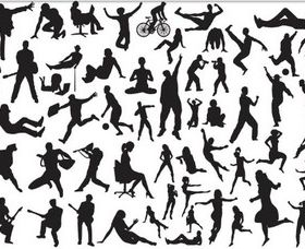 Silhouettes various people vector