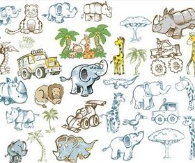 Drawing African Animals Vector