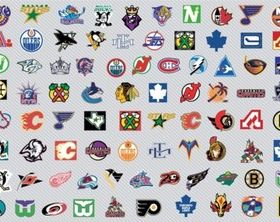 NHL Hockey Logos shiny vector